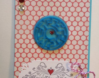 Follow Your Heart Card, Encouragement Handmade Card, Maze Card with Envelope.