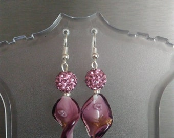 Murano glass beads with Swarovski crystals and dangling earrings