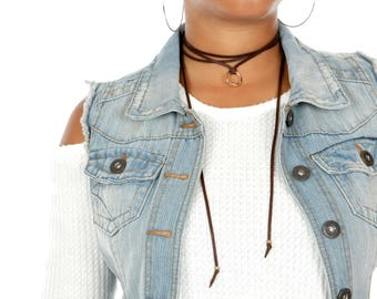 Minimalist Leather Choker | Gold Connector Jewelry Necklace  | Leather Bracelet/Armband Wrap | Necklace Lariat Choker Gift for Her
