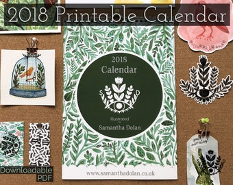 2018 Calendar | Illustrated by Samantha Dolan | Downloadable PDF| Printable | A4 Size | 12 Month Calendar | Wall Decor | Botanical Print |