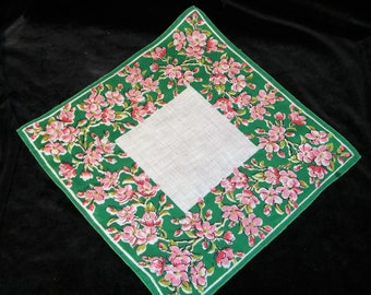 VINTAGE~With or w/o Monogram~50's Pink and Green Dogwood Floral Handkerchief - See Item Description - 1144