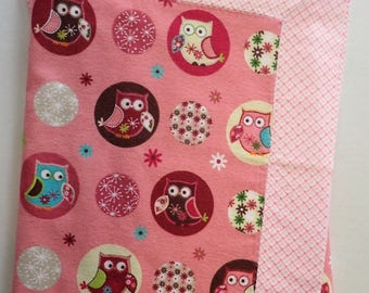 Pink Forest Owl 100% Cotton Welcome Baby Blanket