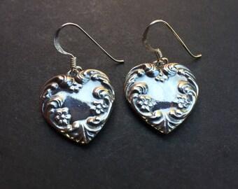 Heart Embossed Sterling Silver Drop Earrings