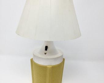 Camping Lantern, Vintage, Retro, Table Lamp 6 Volt Plastic Portable Light, Yellow