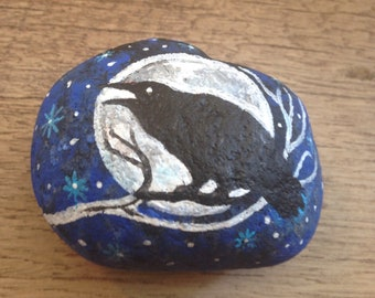 Painted Rock Mystical Crow Design PAPERWEIGHT Painted Rock OOAK