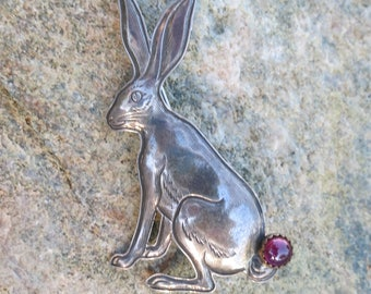 JACK RABBIT BROOCH by Kit Carson, Amethyst Cabochon, Signed & Stamped Sterling