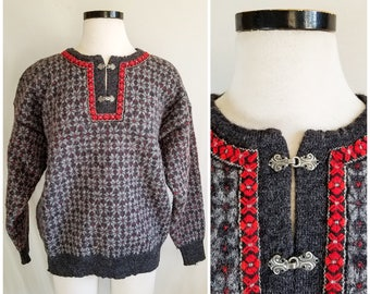 VTG Dale of Norway Sweater / Norwegian Winter Sweater / Vintage Handknit Sweater / Vintage Hand Knit Made in Norway Wool Sweater Size Large