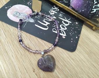 Amethyst Heart Bracelet #001