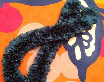 Hand-Knit Italian Ruffle Scarf with Beading