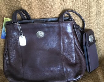 Nine West Genuine Brown Leather Shoulder bag, Reimagined with Custom Celtic Knotwork Silver Conchos by Wes Connell