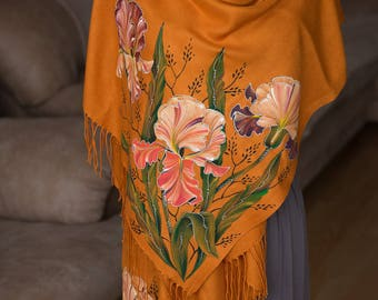 evening shawl women's Valentine's Day gifts  for mom flowers scarf hand painted cashmere scarf painted silk batik shawl dress gift for her