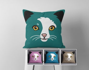 Cat Throw Pillow, Pet Portrait, Kids Room Decor, Purple, Teal, Green, Blue, Brown, Beige, Pillow Cover, Accent Pillow, Cat Lover Gift, Cats
