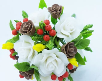 Christmas Everlasting Memorable Bouquet, miniature handcrafted flowers