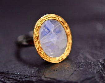 Moonstone Ring, Gold Rose Cut Moonstone Ring, Oxidized Sterling Silver Ring, Oval Moonstone Ring, June Birthstone Jewelry, Girlfriend Gift