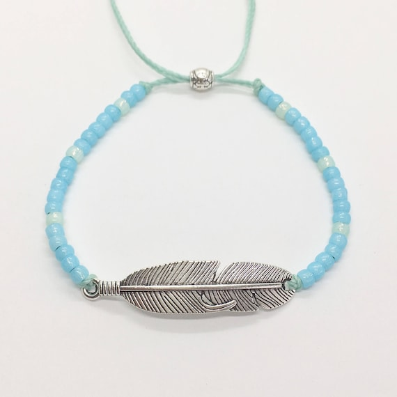 beach jewelry, feather bracelet , beach boho mermaid, gift for her