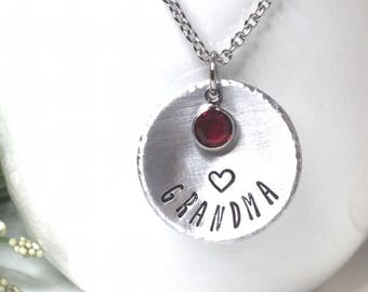 Birthstone Necklace for Grandma - Stamped Birthstone Necklace - Hand Stamped Jewelry - Mother's Day Gift for Grandma - Gift for Grandma