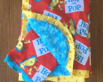 Hop on Pop - Dr. Seuss- Minky Baby Blanket and Burpcloth Set - Can Be Personalized