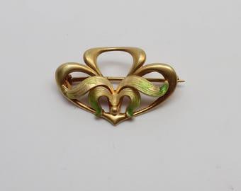 Antique 14K Yellow Gold Art Nouveau Enamel Pin