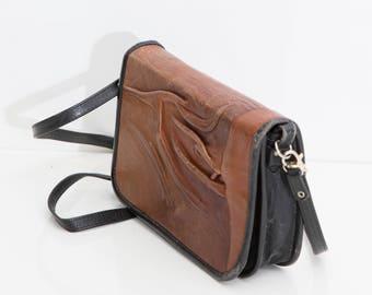 Brown Leather Art Satchel, Small Messenger Bag, Leather Crossbody Bag, Brown Shoulder Bag, Boho Leather Bag, Black Hippie Bag