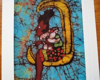 Batik Card of the Mayan Moon Goddess