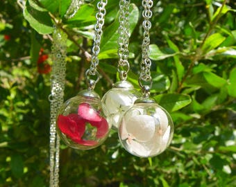 Hydrangea Necklace, 18mm Glass Globe Necklace, Pink,white and red can choose, Mom Necklace, Mom Gift,necklace pendant
