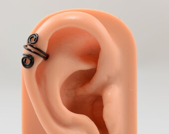 Ear Cuff No Piercing Upper Cartilage Spiral Black