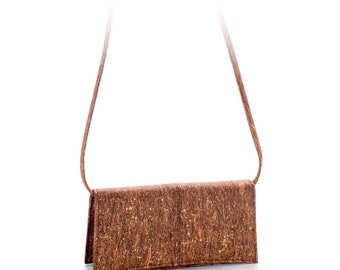 Brown cork high quality bag with gold specs and removable strap - Vegan - Eco Friendly