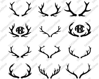 Deer Silhouette clipart set - Antler SVG file - instant download - Files for Cricut and Silhouette - horns svg, dxf, png