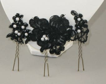 Black Lace hair stick for the bride.