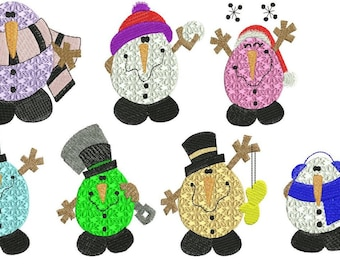 Chubby Snowmen - INSTANT DOWNLOAD - Machine Embroidery - 4x4 hoop