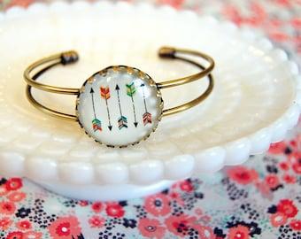 Five arrows illustration cuff bracelet- adjustable - summer camp style