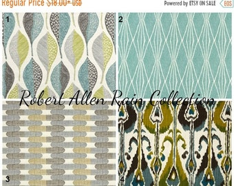 SIZZLING SUMMER SALE Robert Allen Rain Collection Pillow Covers Ikat Leaf Handcut Shapes Tiles Grey Green Blue Pillow Covers