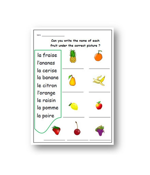 Kids Worksheet For Learning French Names Of Fruits French