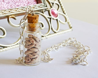 Cookie Bottle Necklace, Polymer Clay Charms, Cookie Necklace, Cookie Jewelry, Cookie Jar, Bottle Necklace, Chocolate Chip Cookie