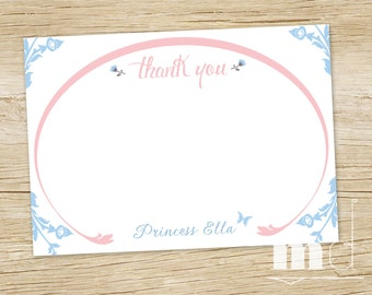Cinderella Fairytale Thank You Card - PRINTABLE - Once Upon A Time - Storybook Butterfly Thank You Note - Princess Birthday Party Thank You