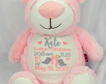 Custom teddy bear etsy personalized teddy bear custom stuffed animal birth announcement keepsake personalized baby gift negle Images