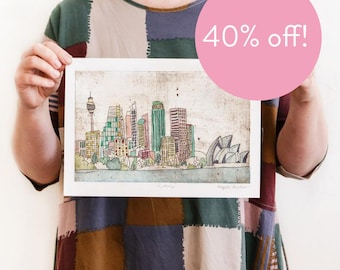 40% OFF! Sydney - Reproduction of an Original Artwork - A4