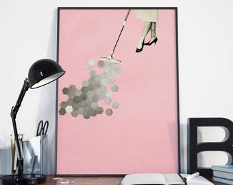 Surreal Mid Century Style Art Print, Mad Men, Pink and Grey Geometric Print - Picking Up the Pieces
