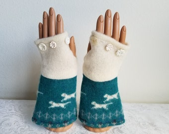Running Dog Fingerless Gloves in Teal and Cream Wool with Vintage Buttons