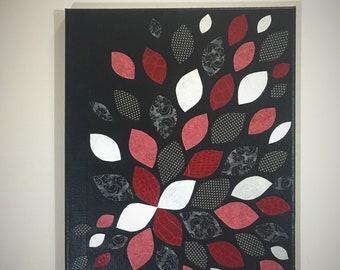 Red Silver and Black Canvas, Wall Art, Flower Canvas, Flower Decor, Cut Paper Art, Modern Decor, Flower Pattern, Red Art, Housewarming Gift