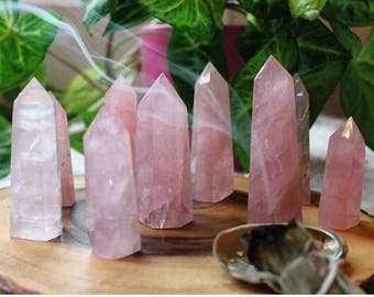 ROSE Quartz Crystal Standing Point / Crystal Grid Healing Crystals and Stones w/ Reiki
