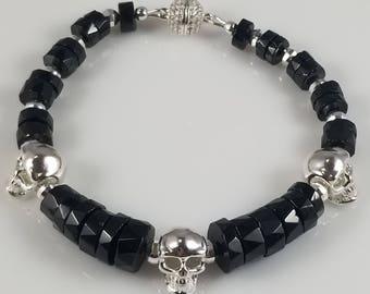 Black Spinel Bracelet with 925 Sterling Silver Skulls