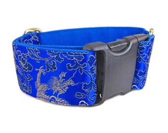 Dragon Blue Dog Collar, Wide Dog Collar, Fancy Dog Collar, Soft Dog Collar, Silk Brocade Dog Collar, Custom Dog Collars, Dog Lover Gift