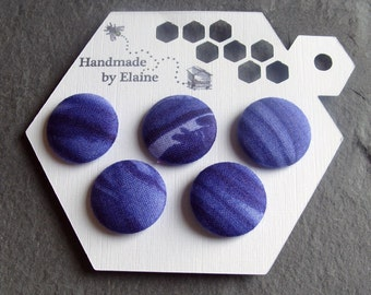 Fabric Covered Buttons - 5 x 22mm Buttons, Handmade Button, Indigo Cobalt Cornflower Dark Blue Striped Planet Neptune Ombre Buttons, 2583
