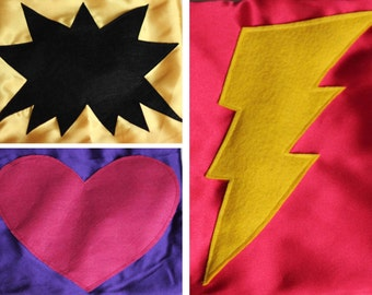 Superhero Capes - Cape with Superhero Shape - Lightning Bolt Cape - Star Cape - Heart Cape - Pow Cape - You Choose Color and Shape