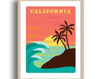 California state Print - Home Decor - California illustration - Wall Art - Museum Art Print - Giclée Art - US state art print - Wholesale