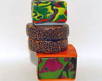 Ornaments. Decorative boxes for gift giving and home decor. Unique round or square colorful boxes to give as a gift or package for a gift.