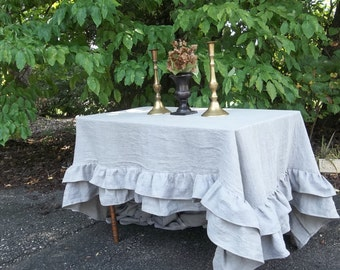 Custom Double Ruffle Linen Tablecloth Ruffled Tablecloth Multi Ruffle Tablecloth Ruffled Linen Tablecloth Wedding Decoration Table Decor