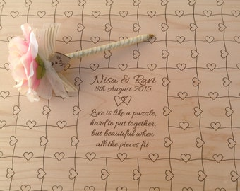 200-300 pcs Wedding Guest Book Heart Puzzle Custom Puzzle with Heart Tabs