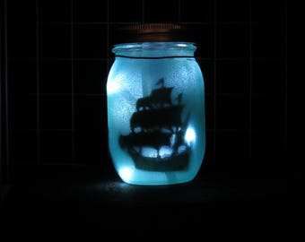 Hanging Luminary Jar (Ship and Mermaid)